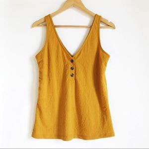 WAREHOUSE Gold / Yellow Sleeveless Button Tank